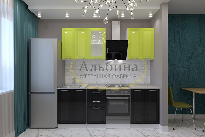 Кухня Бастион (Олива, черный глянец)