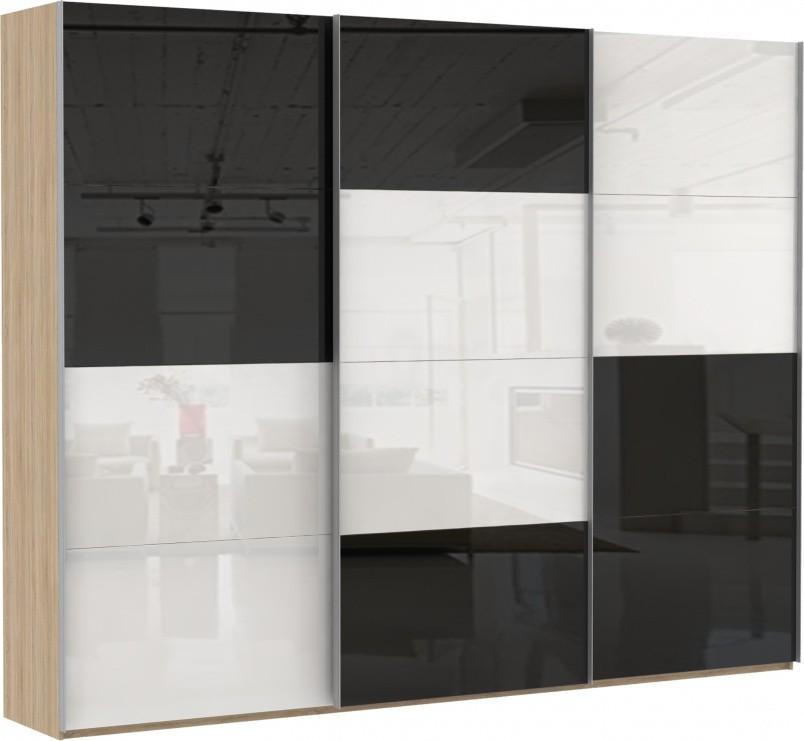 Шкаф купе Эста 3-х дверный (стекло черное, стекло белое)