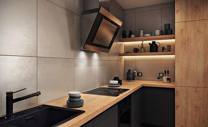 Дизайн кухни без навесных шкафов: идеи, фото в интерьере